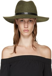 Rag And Bone Green Felted Wool Wide Brim Fedora