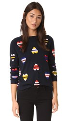 Chinti And Parker Stripe Heart Cashmere Sweater Navy