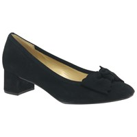 Gabor Harwood Wide Fit Bow Block Heeled Court Shoes Pacific