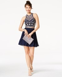 B. Darlin B Juniors' Embellished Strappy Back 2 Pc. Dress A Macy's Exclusive Style Navy