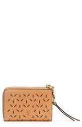 Frye Ilana Small Perforated Leather Zip Wallet Brown Light Tan