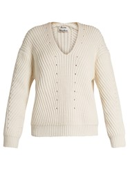 Acne Studios Bernice Chunky Cotton Blend Sweater Ivory