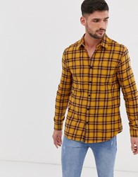 New Look Washed Check Shirt In Yellow