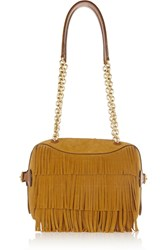 Burberry Fringed Suede And Leather Shoulder Bag Brown