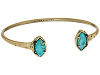 Kendra Scott Laura Bracelet Antique Brass Variegated Turquoise Magnesite White Cz Bracelet Blue