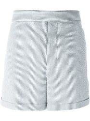 Moncler Gamme Bleu Striped Shorts Grey