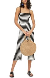 Topshop Shirred Top Stripe Jumpsuit Black Multi