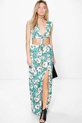Boohoo Amy Tropical Print Maxi And Crop Top Co Ord Green