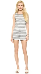 J.O.A. Stripe Romper Black White