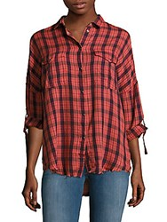 Iro Kirby Drop Shoulder Plaid Button Down Shirt Red