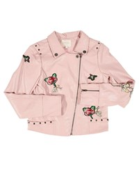 Hannah Banana Faux Leather Biker Jacket W Patches Size 4 6X Pink