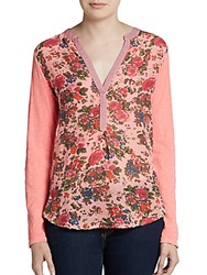 Saks Fifth Avenue Gray Floral And Striped Print Top Pink Floral