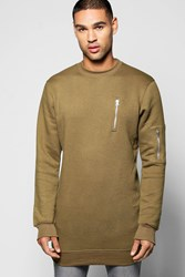 Boohoo Ma1 Crew Neck Sweater With Side Zips Olive