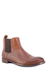 Robert Graham Woodward Woven Chelsea Boot Brown Leather