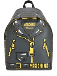 Moschino Logo Printed Leather Backpack Dark Grey