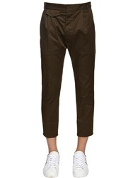 Dsquared Aviator Stretch Cotton Twill Pants Military Green