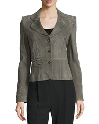 Valentino Embroidered Leaves Button Front Jacket Olive Green