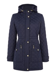 Weatherproof Hooded Quilted Walker With Back Bungi Navy