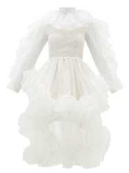Christopher Kane Ruffled Dip Hem Silk Organza Dress White