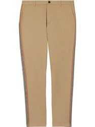 Burberry Slim Fit Icon Stripe Detail Cotton Chinos Brown