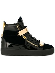 Giuseppe Zanotti Design Gold Embellished High Tops Black