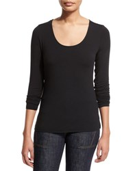 Elie Tahari Netta Long Sleeve Tee Black