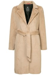 Loveless Faux Fur Belted Coat Neutrals