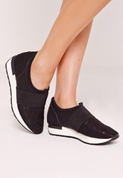 Missguided Elastic Strap Trainer Black Black