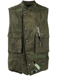 Tom Rebl Dislocated Fastening Gilet Green