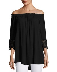 Chelsea And Theodore 3 4 Sleeve Off The Shoulder Top Black