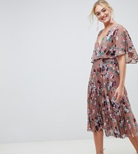 Asos Design Tall Flutter Sleeve Midi Dress With Pleat Skirt In Floral Print Floral Print Multi
