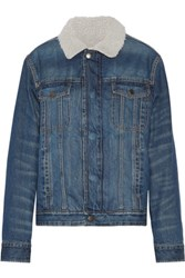 Current Elliott The Zip Hendric Faux Shearling Lined Denim Jacket Mid Denim