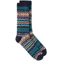 Anonymous Ism Fair Isle Crew Sock Blue
