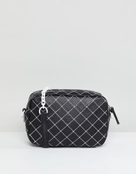 Mango Quilted Contrast Cross Body Bag Black