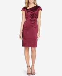 Tahari By Arthur S. Levine Asl Stretch Satin Pleated Sheath Dress Wine