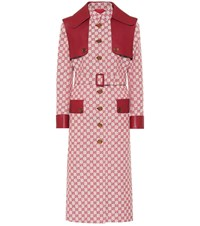Gucci Gg Leather Trimmed Trench Coat Red
