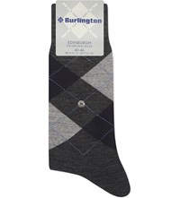 Burlington Edinburgh Wool Blend Socks Rock Limelight