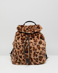 Stradivarius Leopard Faux Fur Backpack Multi