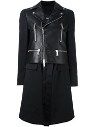 Dsquared2 Mixed Leather Coat Black