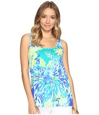Lilly Pulitzer Kinsey Tank Top Brilliant Blue Wade And Sea Women's Sleeveless