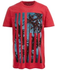 Univibe American Island Graphic Print T Shirt Red Heather
