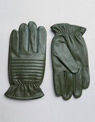 Barney's Barneys Leather Biker Gloves In Khaki Green