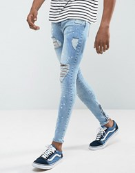 Rose London Super Skinny Jeans With Distressing Blue