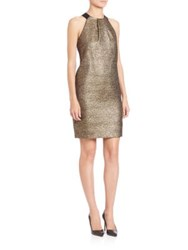 Lk Bennett Sparkle Halter Dress Gold