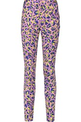 Peter Pilotto Printed Cotton Blend Skinny Pants Lavender