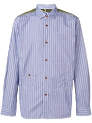 Junya Watanabe Man Stripe Panelled Shirt Blue