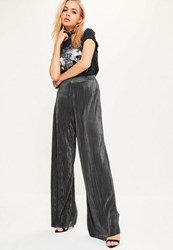 Missguided Grey Crinkle High Waisted Wide Leg Trousers