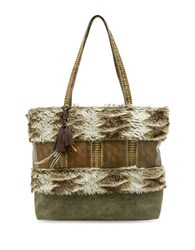 Steve Madden Aspin Snake Embossed Faux Fur Tote Taupe