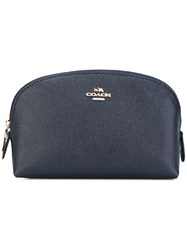 Coach Logo Plague Make Up Bag Women Leather One Size Blue