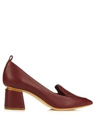 Nicholas Kirkwood Beya Grained Leather Block Heel Pumps Burgundy
